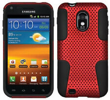 RED/BLACK MESH HYBRID CASE COVER FOR SAMSUNG GALAXY-S 2 II D710 EPIC 4G TOUCH