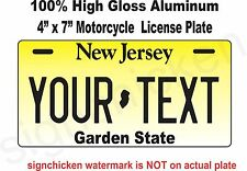 New Jersey Novelty Aluminum State License Plate -PERSONALIZED MOTORCYCLE TAG 4X7