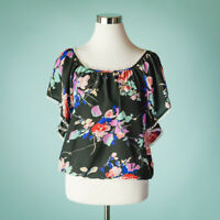 Yumi Kim Small Black Top Blouse Cabo Floral Ruffle Off The Shoulder Boat Neck
