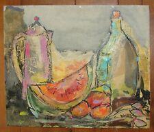 Mid Century Modern Abstract Still Life Encaustic Painting Signed Carol Damhorst
