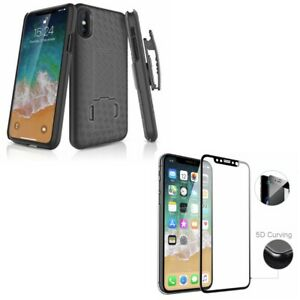 iPhone X XS - Tempered Glass Screen Protector w Holster Case Belt Clip