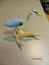 Hand carved hand painted  wooden Blue Heron egret sculpture water shore bird