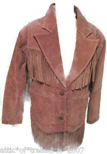 Suede Leather Fringed Woman's Tan Jacket Coat Boho Chic Festival Cowgirl Small