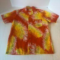 The Sample Shop Vtg 60s Hawaiian Shirt Orange VLV Rockabilly Mens Size Medium