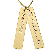 Vertical Bar Necklace - Gold Plated Bar Necklace with Two Names- oNecklace ®