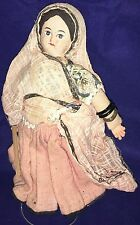 "Vintage Ethnic Doll Stuffed Cloth Handmade Painted Face Bracelets 6 1/2"" Tall"
