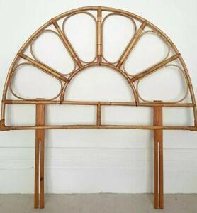 Midcentury bamboo single headboard, vintage rattan, boho, natural decor, tiki.