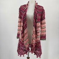 Anthropologie Moth Sweater Open Front Cardigan Pink Stripe Pom Pom Size Small