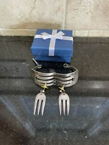 Sterling Silver Fork Bracelet And Earrings bangle Handmade ANTIQUE Clasp Heavy
