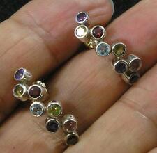 Amethyst Citrine Garnet Topaz Peridot Tourmaline .925 Sterling Silver Earrings