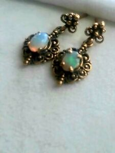14 K Gold Opal Moonstone Post Earrings