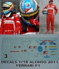 DECALS DRIVER 1/18 FIGURA Fernando Alonso Ferrari F1 2011 figurine figure Driver