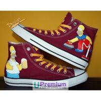 Converse All Star Bordeaux Homer Simpson Scarpe Disegnate Handmade Paint Uomo Do