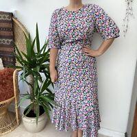 BNWT Cottagecore Black w/ Pastel Floral Pattern Midi Length Dress  Sz 12 14