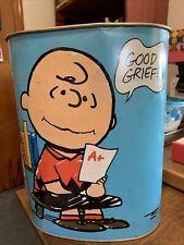 Vintage Chenico Metal Peanuts Snoopy Charlie Brown Garbage Trash Can Blue