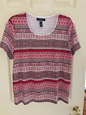 Karen Scott PXL Red Geometric Design Short Sleeve Top NWOT Cotton Blend