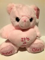 """8"""" Baby Shower Teddy Bear Plush PINK It's a GIRL Baby Shower Gift NWT Plush Doll"""