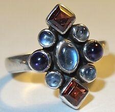 Silver Multiple Stone Ring~Size 10 Vintage Designer Signed Nicky Butler Sterling