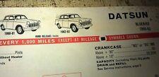 1960 1961 1962 1963 1964 DATSUN BLUEBIRD - GOLDEN FLEECE  Lube Chart