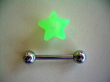 "14g 5/8"" Silicone Neon Removable French Tickler Koosh Tongue Green Star Barbell"
