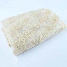 Small Plum Blossom Gold Thread flower Embroidery Lace Fabric Mesh Fabric 1 YARD