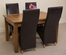 Cotswold Rustic Extending Solid Oak Dining Table and 4 Brown Leather Chairs