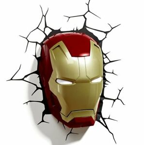Marvel AVENGERS IRON MAN MASK 3D FX LIGHT Wall DECO Night Light + Sticker