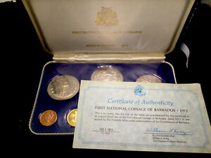BARBADOS 1973 First National Coinage 8 Coin 92.5% Silver Proof Set #1353-1360