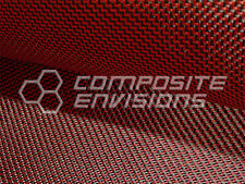 """Carbon Fiber Made with Kevlar Red Fabric 2x2 DUAL Twill 50"""" 3k 6.5oz"""