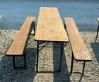 Wood Vintage German Beer Garden Table And Benches, Oktoberfest Picnic Table D7