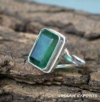 925 Sterling Silver Natural Colombian Emerald Octagon Shape Bezel Set Ring