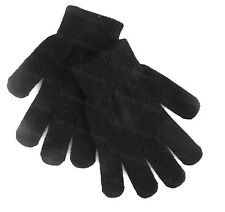 Boys Girls Childrens Plain Black Magic Stretch Gloves Kids Winter Warm
