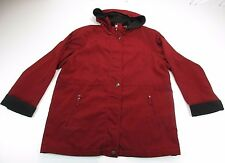 *NAUTICA* SIZE L WOMEN'S HOODED FULL ZIP BURGUNDY/BLACK COAT