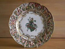LATE 19TH CENTURY CAPODIMONTE / CROWNED NAPLES ARMORIAL CREST 10 INCH PLATE NO1