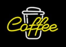 "Hot Coffee Cup Cafe Acrylic Neon Light Sign 14"" Glass Artwork Decor Wall Open"