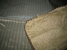 Croscill Marcella Euro Pillow Sham Green Gold Reversible Floral Print Shiny New
