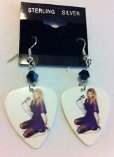 Sterling Silver White Double Sided Taylor Guitar Pick Earrings