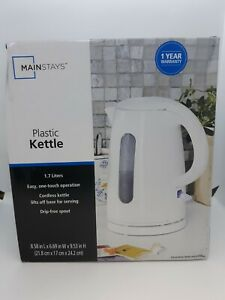 Mainstays 1.7 Liter Plastic Kettle Cordless One Touch Operation ~ White ~ READ!