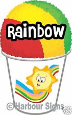 """(2) Rainbow Shave Shaved Ice Snow Cone Italian Decal 7"""" Concession Food Truck"""