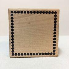 "Impress Wood-mounted Rubber Stamp Square Polka Dot Border 1.75"" x 1.75"""