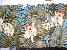 Tropical Hawaiian 100% Cotton Barkcloth Fabric VALANCE ~Ferns-Blue Orchids~