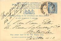 NEW SOUTH WALES 1910 1 1/2 d VFU postal stationery double postcard to URUGUAY RR