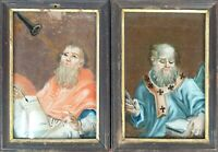 COUPLE OF BISHOPS. PAINTING ON GLASS. NOT SIGNED. XVIII-XIX CENTURY.