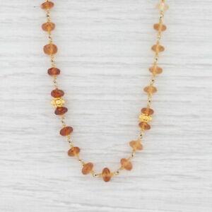 New Nina Nguyen Orange Garnet Bead Necklace Adjustable Sterling Gold Vermeil