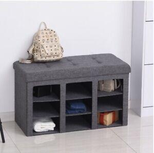 Gray Folding Storage Ottoman Bench Storage Cabinet Footrest Stool Home Organizer
