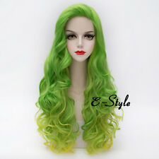 Long Curly Yellow Mixed Light Green Lolita Women Girl Heat Resistant Cosplay Wig