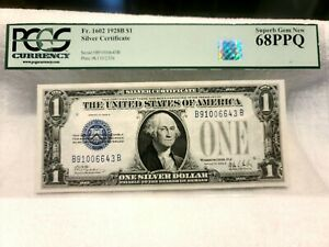 FR. 1602 $1 1928-B Silver Certificate k plate Gem PCGS 68PPQ Registry quality