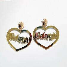 BABYGIRL EARRINGS BAMBOO GOLD LARGE BIG HOOP HEART EARRINGS CREOLE BABY GIRL