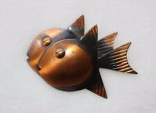 Signed REBAJES Mid Century Modern Copper Double Fish Pin Brooch RARE