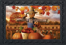 "Autumn Scarecrow Harvest Doormat Puppy Pumpkins Apples Indoor / Outdoor 18""x30"""